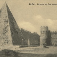 Pyramid of Cestius pictured in postcard by Porta San Paolo.jpg